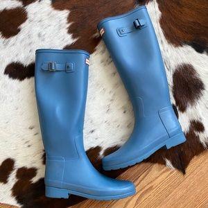 Hunter Powder Blue Tall Matte Rubber Rain Boots 8
